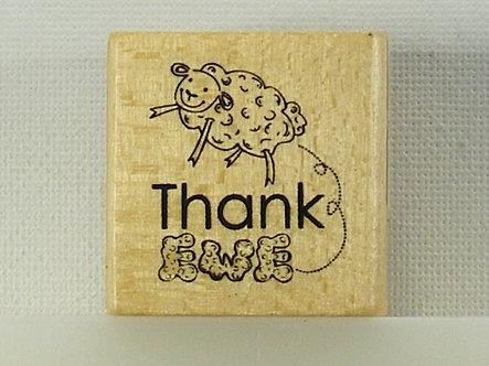 Anita's - Thank Ewe Wood Mounted Rubber Stamp