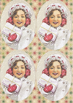 Kanban - Girl & Present Vintage Christmas Topper