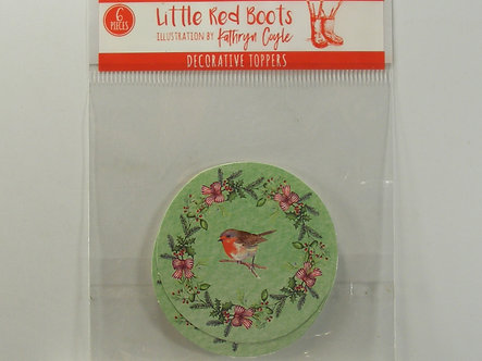 Little Red Boots - Decorative Toppers - Robin & Wreath.
