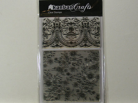 Kanban - Lacey Florals A6 Clear Acrylic Stamps
