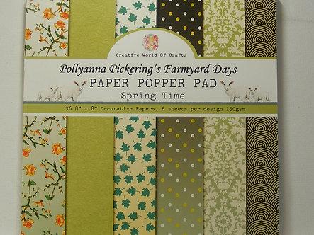 "Pollyanna Pickering's Farmyard Days 8"" x 8"" Paper Popper Pad - Spring Time"