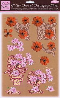 Anita's Glitter Die Cut Decoupage -  Floral 3