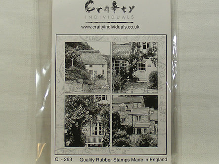 Crafty Individuals - Four Country Cottages Rubber Stamps
