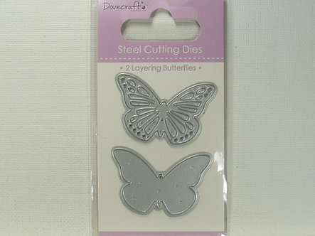Dovecrafts - 2 Layering Butterflies Steel Cutting Dies