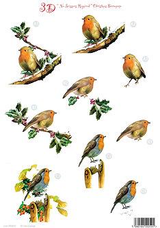 Craft UK - 3D Christmas Decoupage Sheet - Robins