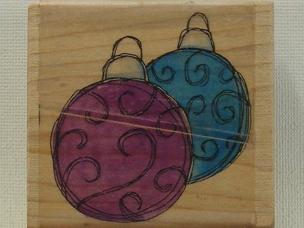 Funstamps - Swirly Baubles Wood Mounted Rubber Stamp