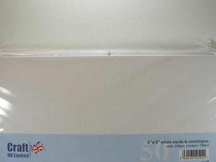 "Craft UK - 6"" x 6"" White Cards & Envelopes x 50"