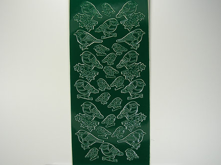 Christmas Peel Offs - Robins (Dark Green)
