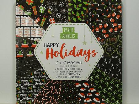 "Paper Addicts - Happy Holidays 6"" x 6"" Pad"