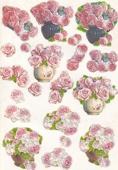 Pink Roses 3D Die-Cut Decoupage Sheet