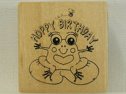 Anita's - Hoppy Birthday Wood Mounted Rubber Stamp
