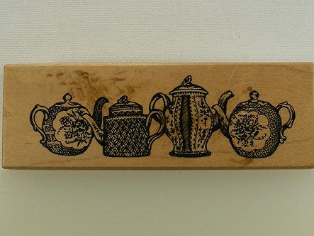 Petaluma Crafts - Antique Tea Pot Wood Mounted Rubber Stamp
