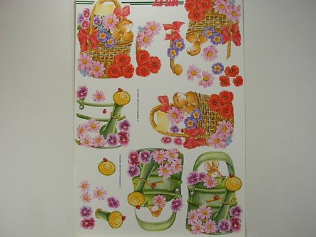 Le Suh 3D Decoupage - Floral Basket & Watering Can.