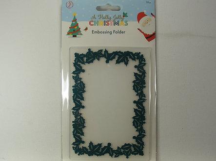 Christmas Holly Frame  A6 Embossing Folder