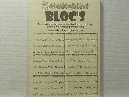 Art & Crafts Direct - Paper Blocs Sentiment Sheets (Yellow)