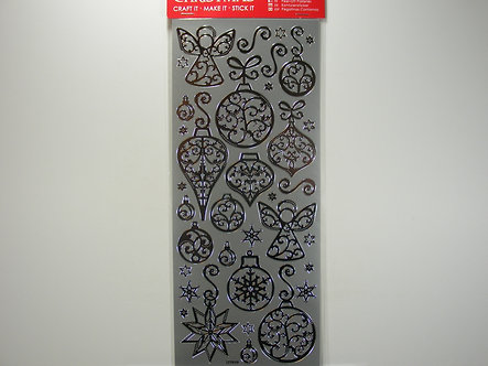 Docrafts - Outline Christmas Stickers - Silver Baubles & Angels.