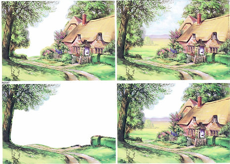 Countryside Decoupage - Thatched Cottages Decoupage