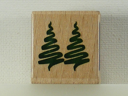 Docrafts - Whispers Squiggle Christmas Trees Wood Mounted Stamp