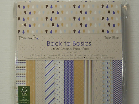"Dovecraft Back To Basics - True Blue 6"" x 6"" Paper Pad"