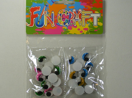 Fun Craft - Googly Eyes (Coloured) 15mm
