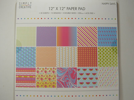 "Simply Creative - Happy Days 12"" x 12"" Paper Pad"