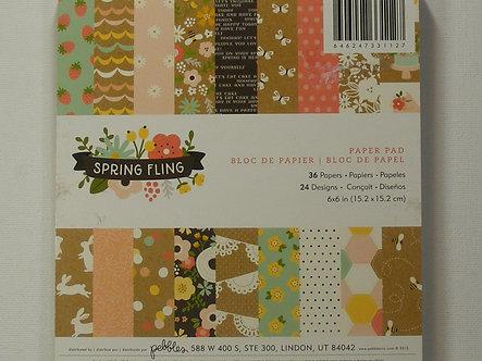 "American Crafts - Pebbles 6"" x 6"" Paper Pad - Spring Fling."