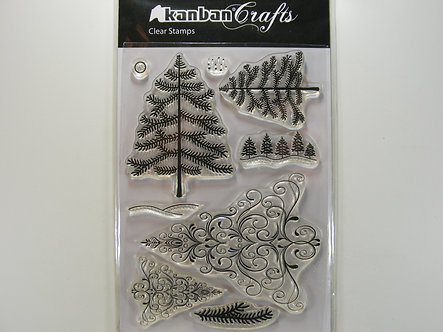 Kanban - Christmas Trees Clear Acrylic Stamps