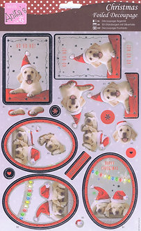 Anita's - Christmas Foiled Decoupage - Festive Puppies.