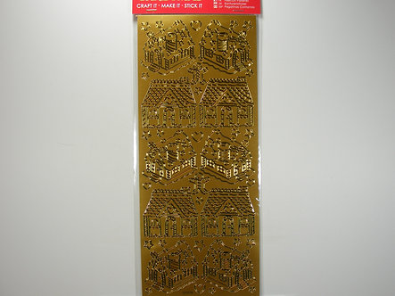Docrafts - Outline Christmas Stickers - Gold Gingerbread House.