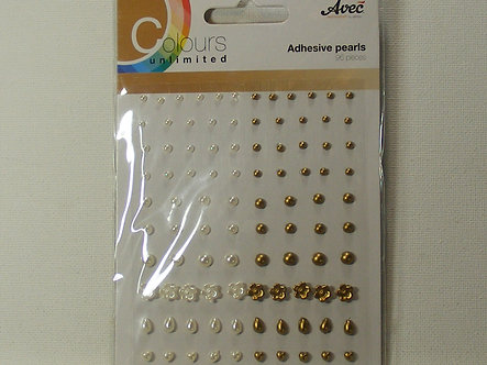 Avec - Colours Unlimited Adhesive Pearls - Ivory & Gold.