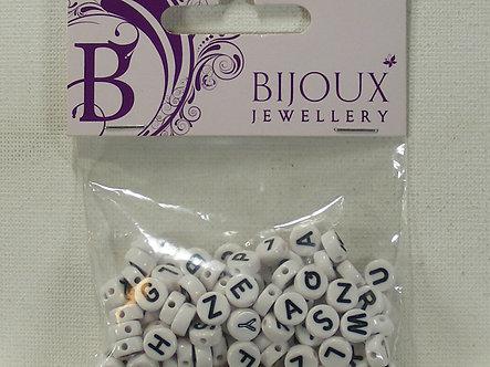 Hobbycraft - Bijou Jewellery - White Round Flat Alphabet Beads (100pc)