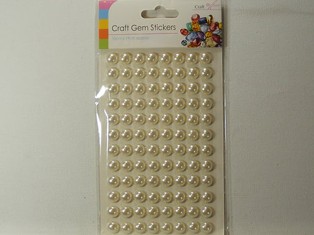 Sifcon Craft Gem Stickers - Ivory 10mm Flat Back Pearls (96)