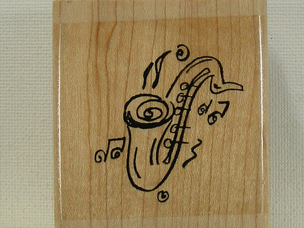 Inca Stamps - Jazz Sax Wood Mounted Rubber Stamp