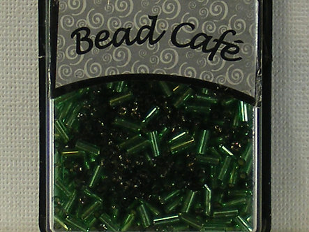Bead Cafe - Green 6mm Glass Bugle Beads.