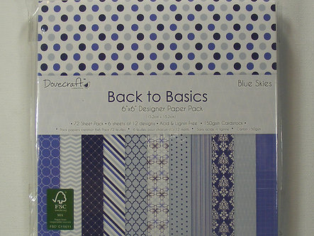 """Dovecraft Back To Basic - Blue Skies 6"""" x 6"""" Paper Pack"""