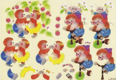 Christl Vogl - Hedgehog Fun Decoupage Sheet