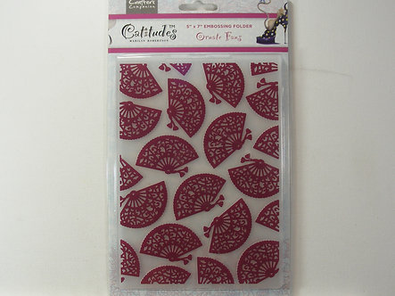 Crafters Companion - Catitudes Ornate Fans Embossing Folder
