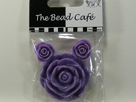 Bead Cafe - Purple Resin Flowers