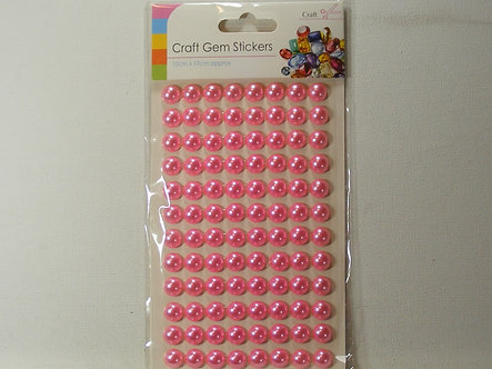 Sifcon - Craft Gem Stickers 10mm Baby Pink Flat Back Pearls