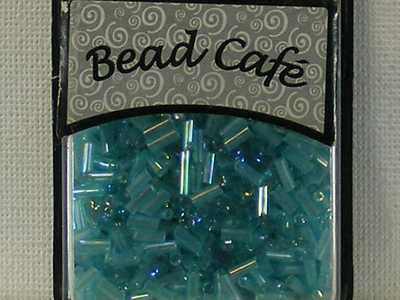 Bead Cafe - Blue 6mm Glass Bugle Beads.