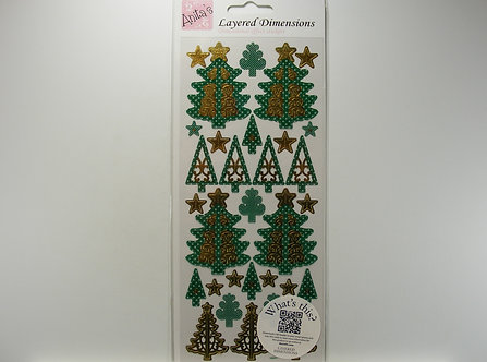 Anita's - Layered Dimensions Stickers - Christmas Trees.