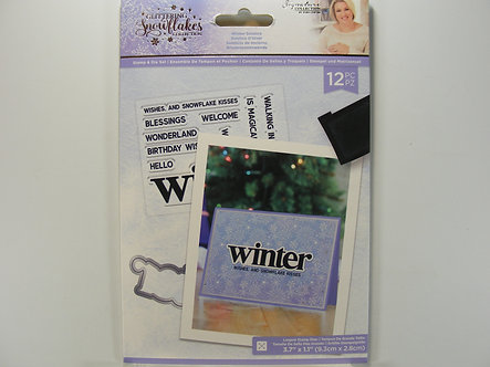 Crafters Companion - Glittering Snowflake Collection - Winter Solstice Stamp & D