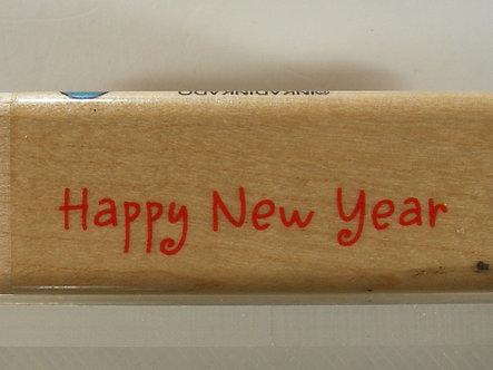 Inkadinkado - Happy New Year Wood Mounted Rubber Stamp