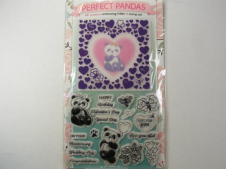 Perfect Pandas Embossing Folder & Clear Stamp Set