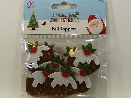 Hobbycraft - Holly Jolly Christmas Pudding Felt Toppers.