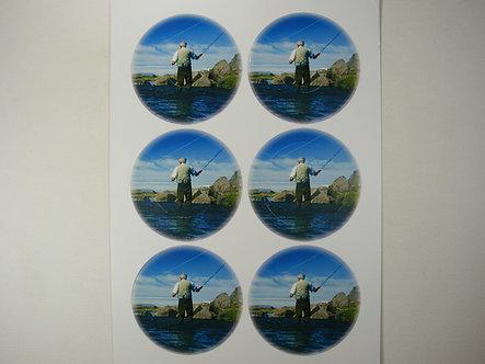 Die-Cut Circle Decoupage Sheet Fly Fishing