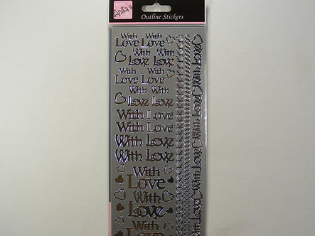 Anita's - Silver 'With Love' Outline Stickers.