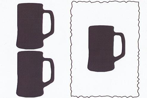 A5 Monochrome Decoupage Sheet - Tankard