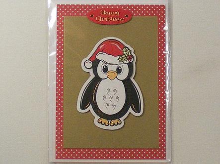 Handmade Christmas Card - Festive Penguin.
