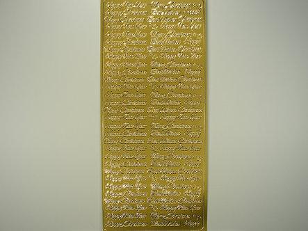 Christmas Peel Offs - Sentiments (Gold)